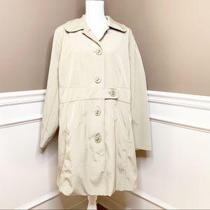 Merona beige rain trench lined coat sz 20w M0582
